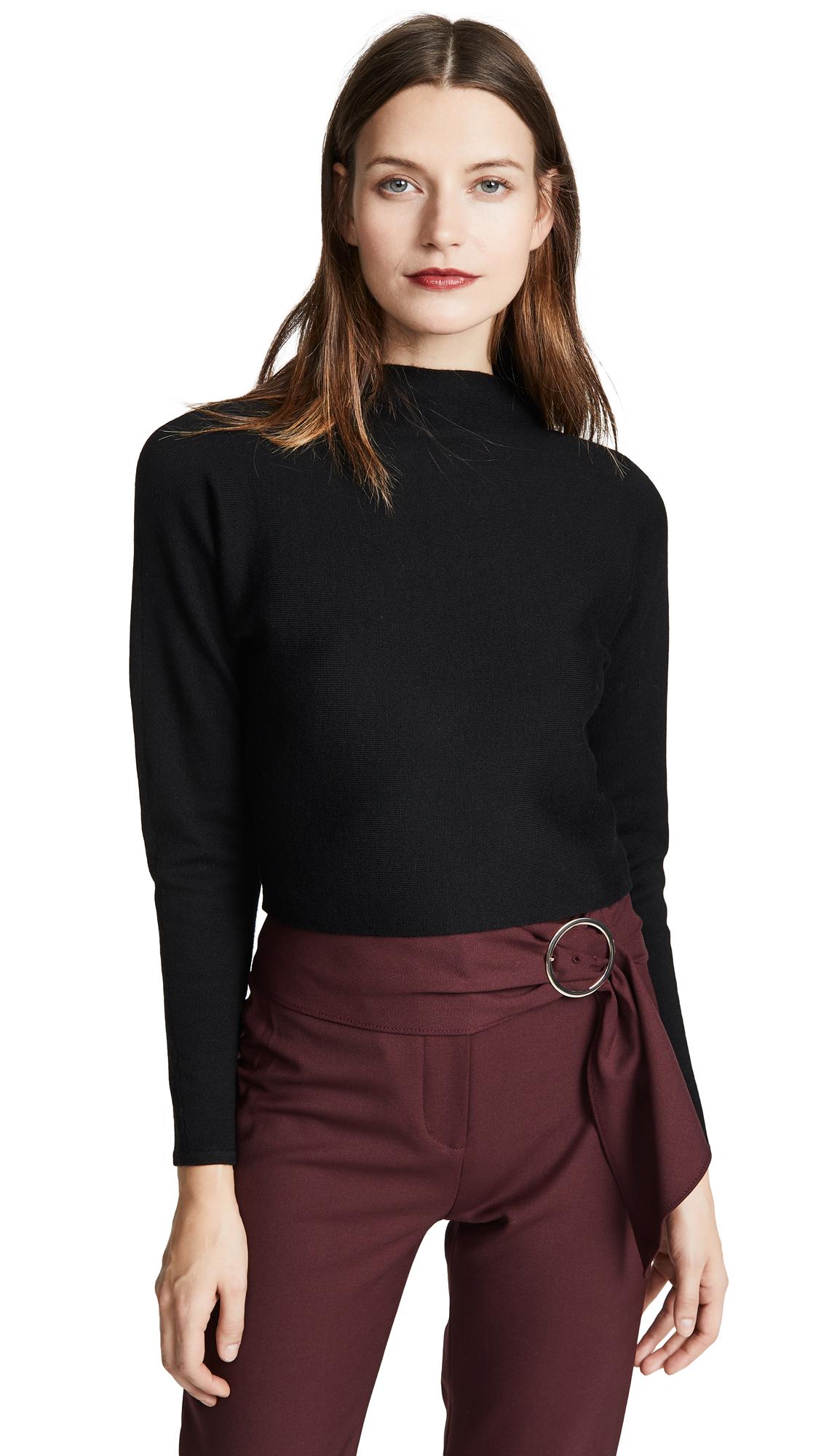 CLUB MONACO Vinchenda Mock-Neck Cropped Sweater in Black