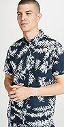 Club Monaco Leaves Print Short Sleeve Slim Button Down Shirt
