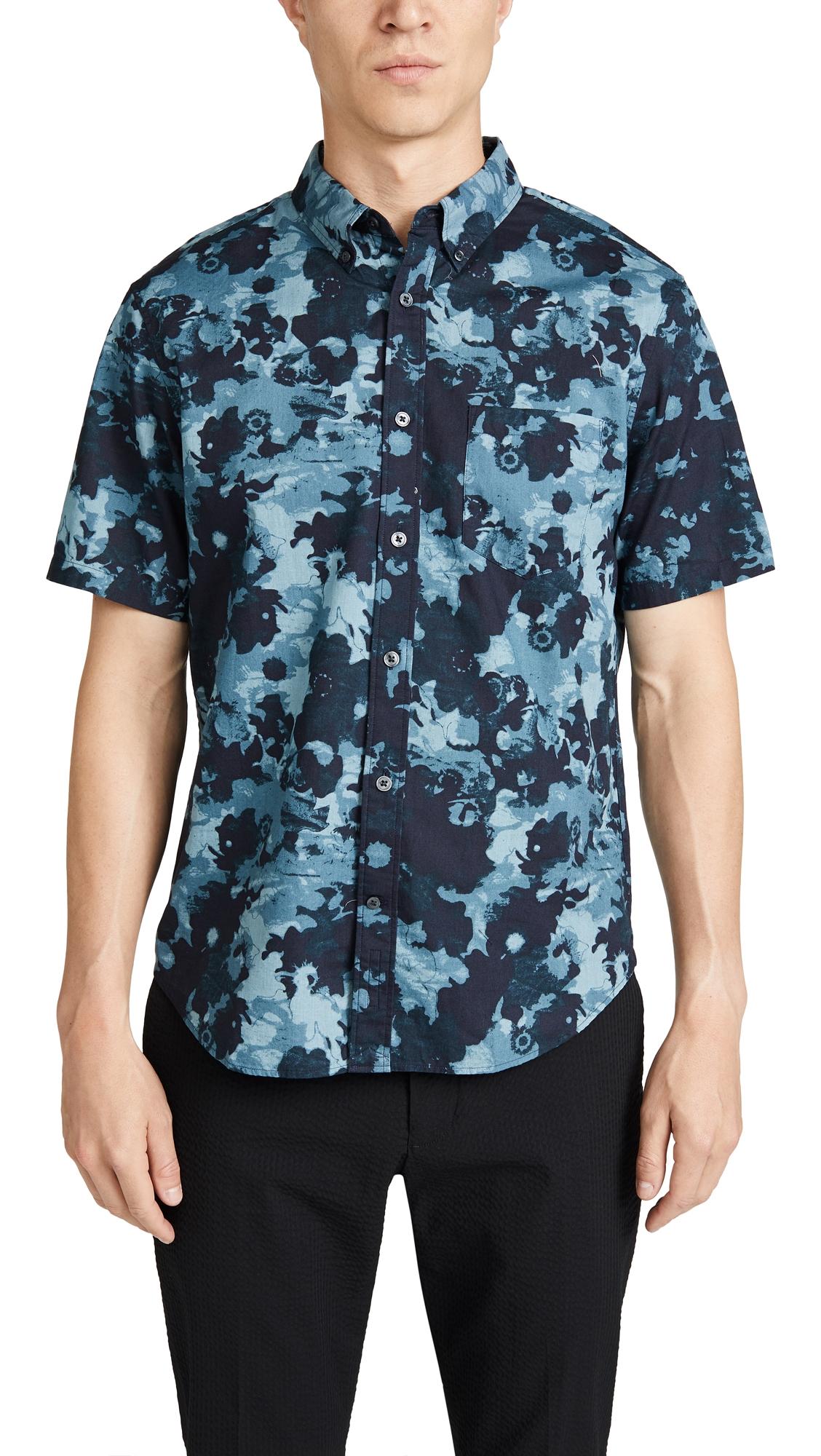 CLUB MONACO | Club Monaco Photographic Floral Print Short Sleeve Button Down Shirt | Goxip