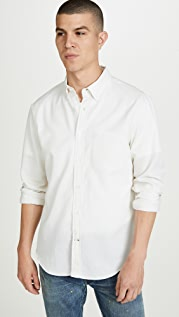 Club Monaco Long Sleeve Button Down Pique Shirt