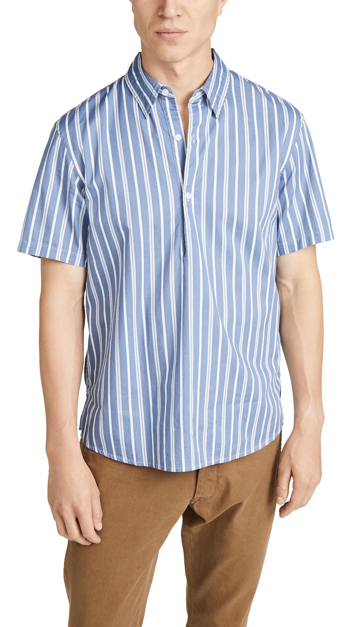 CLUB MONACO | Club Monaco Short Sleeve Button Down Striped Popover Shirt | Goxip