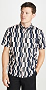 Club Monaco Slim Short Sleeve Button Down Broken Stripe Shirt