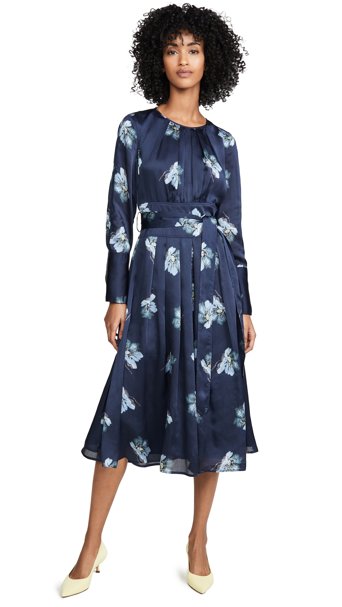 Buy Club Monaco online - photo of Club Monaco Floral Belted Midi Dress