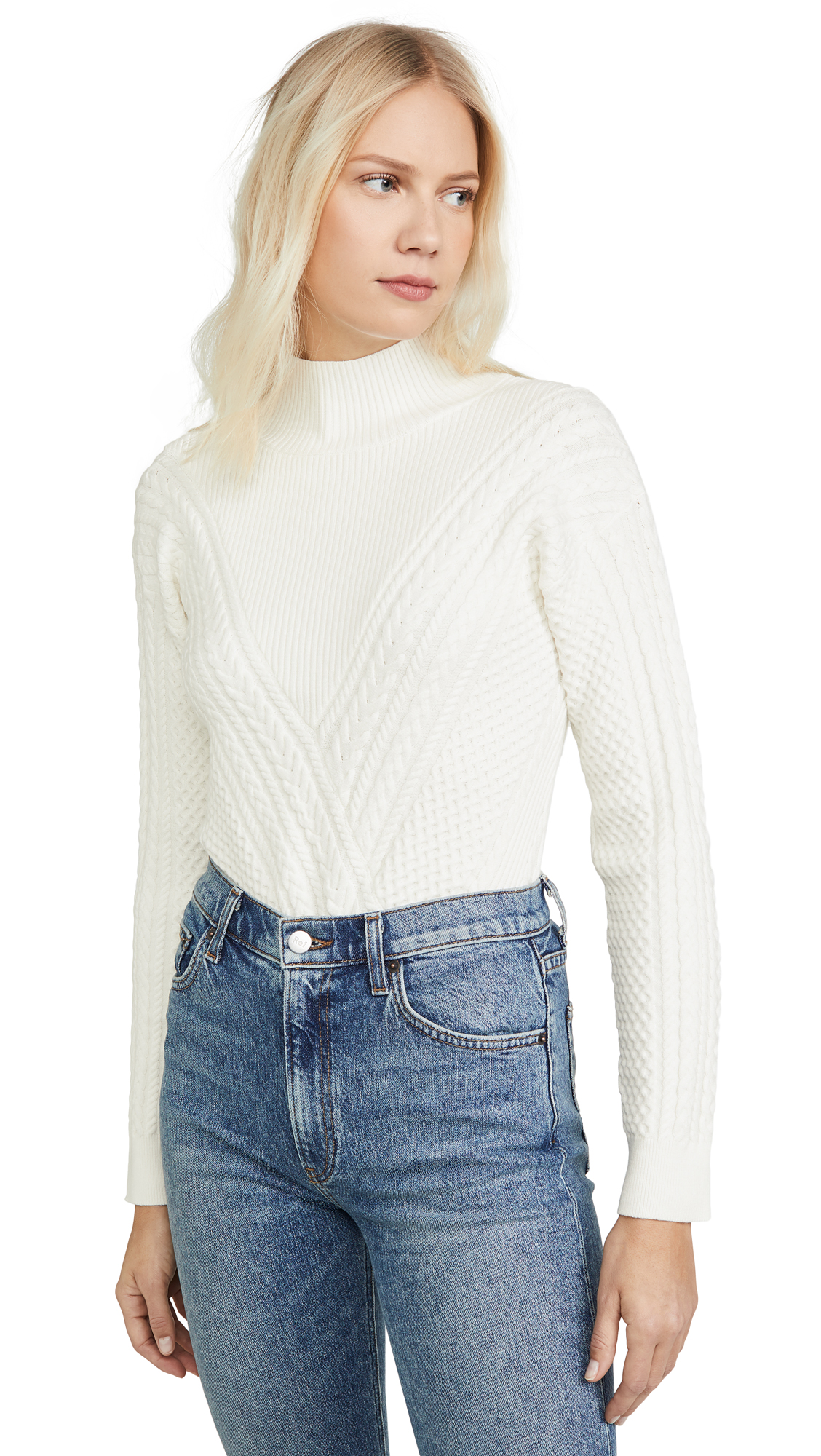 Buy Club Monaco online - photo of Club Monaco Cable Front Mock Neck Sweater