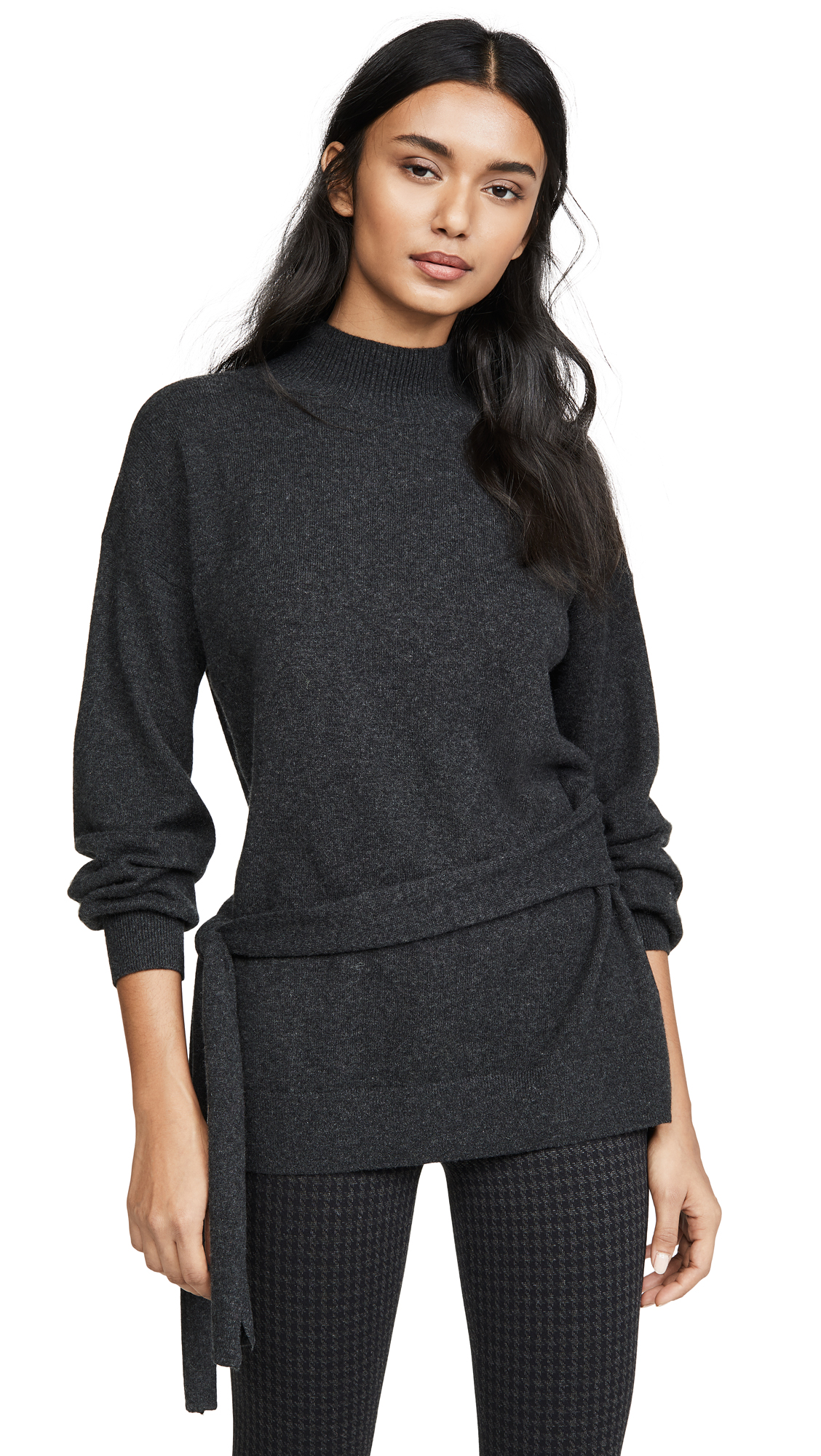 Buy Club Monaco online - photo of Club Monaco Tie Waist Mock Neck Cashmere Sweater