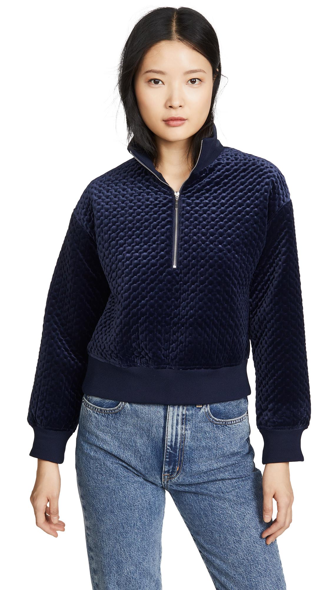 Buy Club Monaco online - photo of Club Monaco Quilted Velour Quarter Zip Sweatshirt