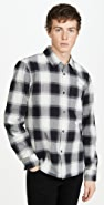 Club Monaco Long Sleeve Ombre Plaid Shirt