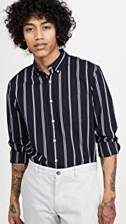 Club Monaco Long Sleeve Slim Button Down Chelsea Striped Shirt