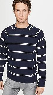 Club Monaco Long Sleeve Double Stripe Sweatshirt