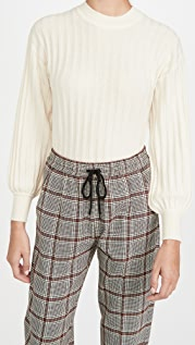 Club Monaco Ribbed Blouson Sleeve Cashmere Blouse