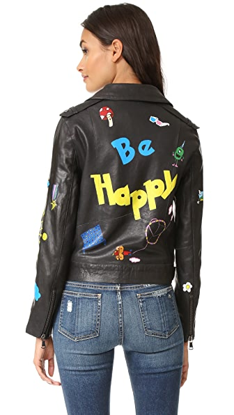 Mira Mikati Hand Painted Leather Jacket