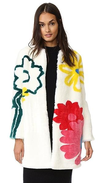 Mira Mikati Happy Flowers Faux Fur Coat