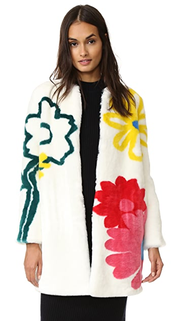 Mira Mikati Happy Flowers Faux Fur Coat