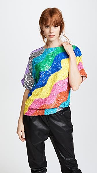 Mira Mikati Rainbow Wave Sequin Top - Multi
