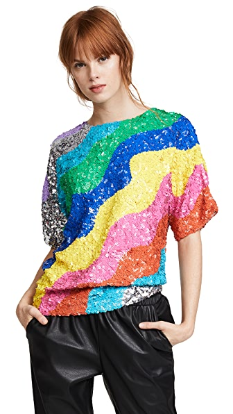 Mira Mikati Rainbow Wave Sequin Top