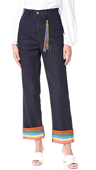 Mira Mikati Ribbon Cuff Denim Trousers In Dark Wash