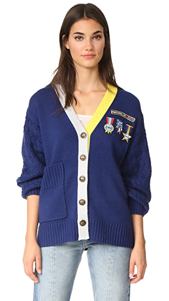 Mira Mikati Scout Patch & Embroidered Knit Cardigan - Navy