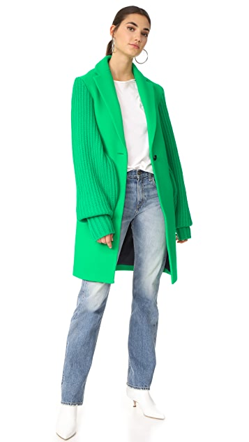Mira Mikati Ask Me Later Embroidered Knit Sleeve Coat