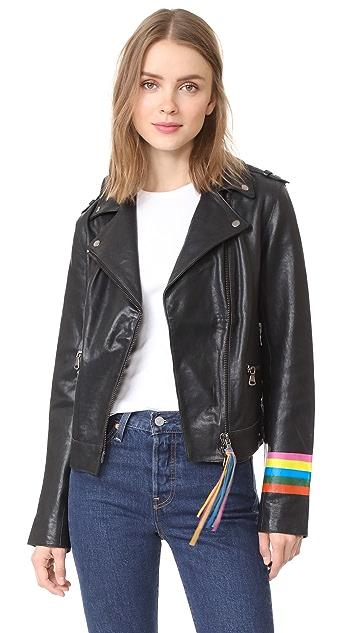 Mira Mikati Fox Leather Jacket