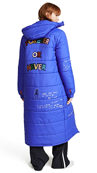 Mira Mikati Forever Or Never Puffer Jacket In Blue/Multi