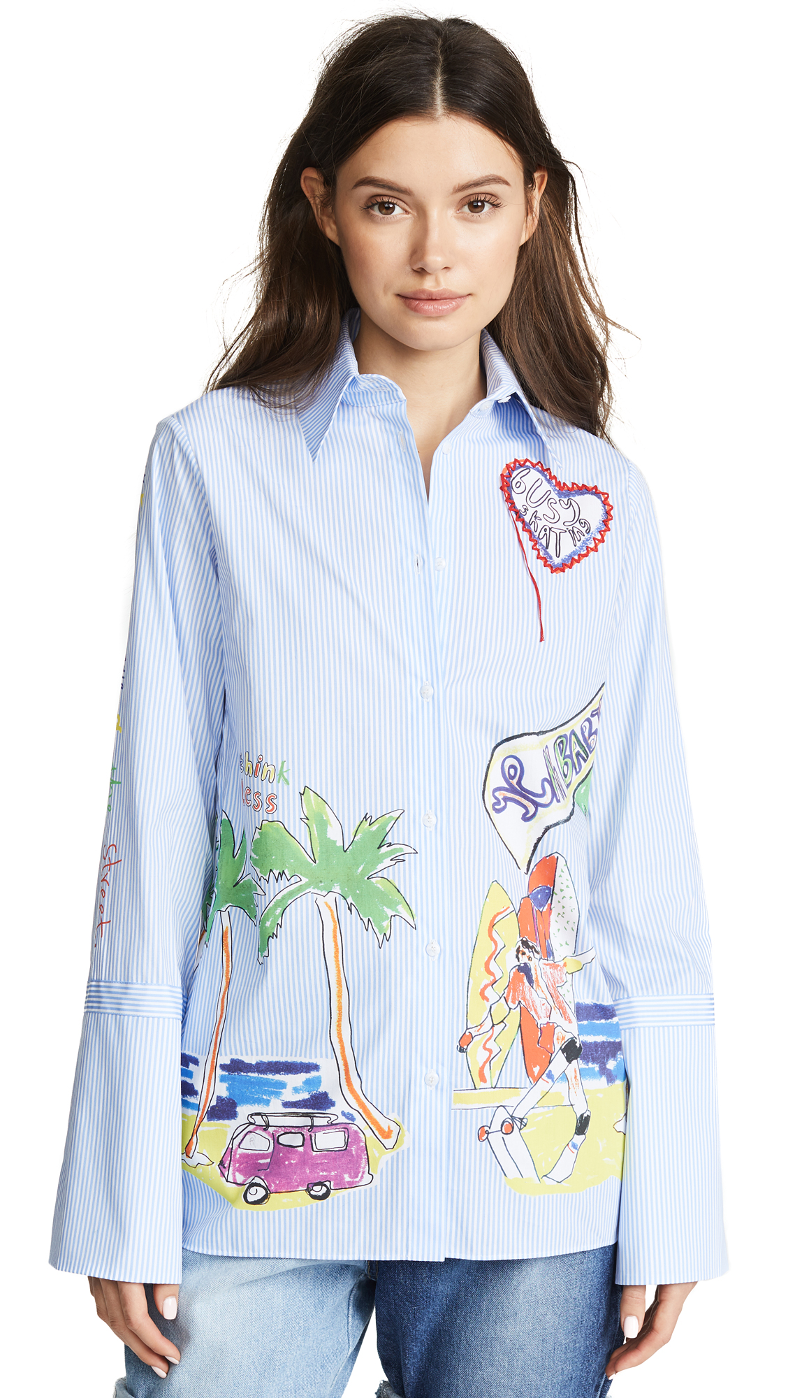Venice Beach Print Stripe Shirt, Blue/White