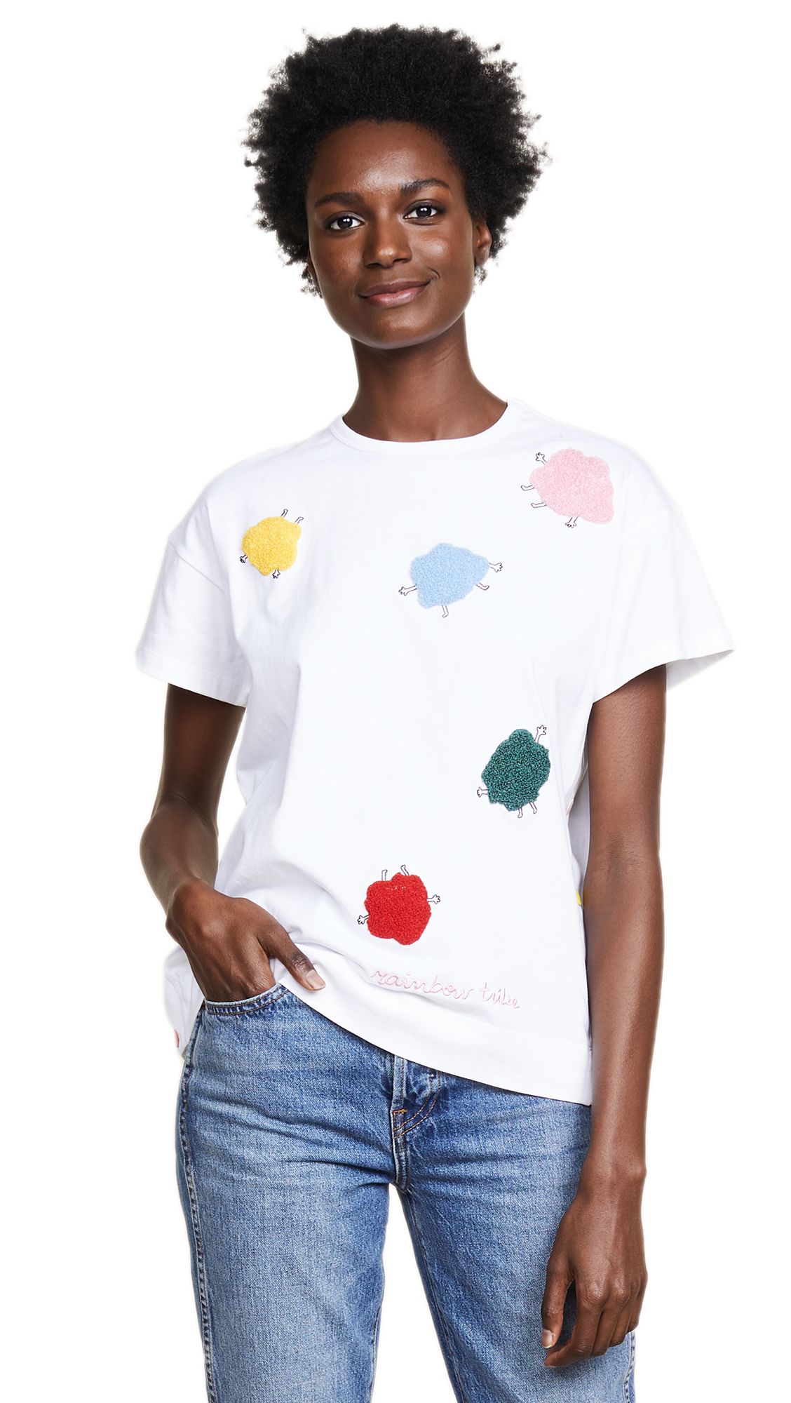 Monster Embroidered Cotton T-Shirt, White