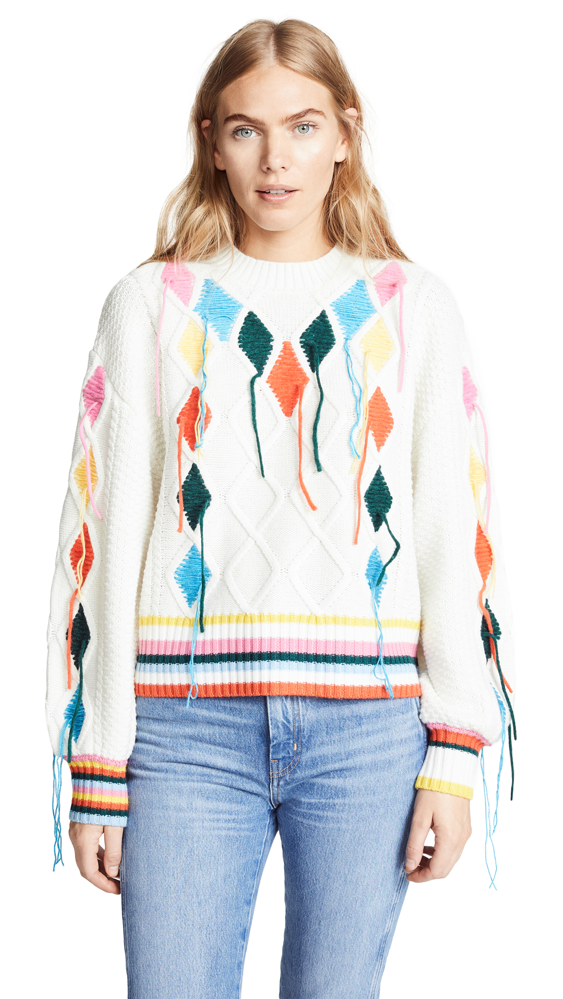 Embroidered Cable-Knit Sweater, Off White
