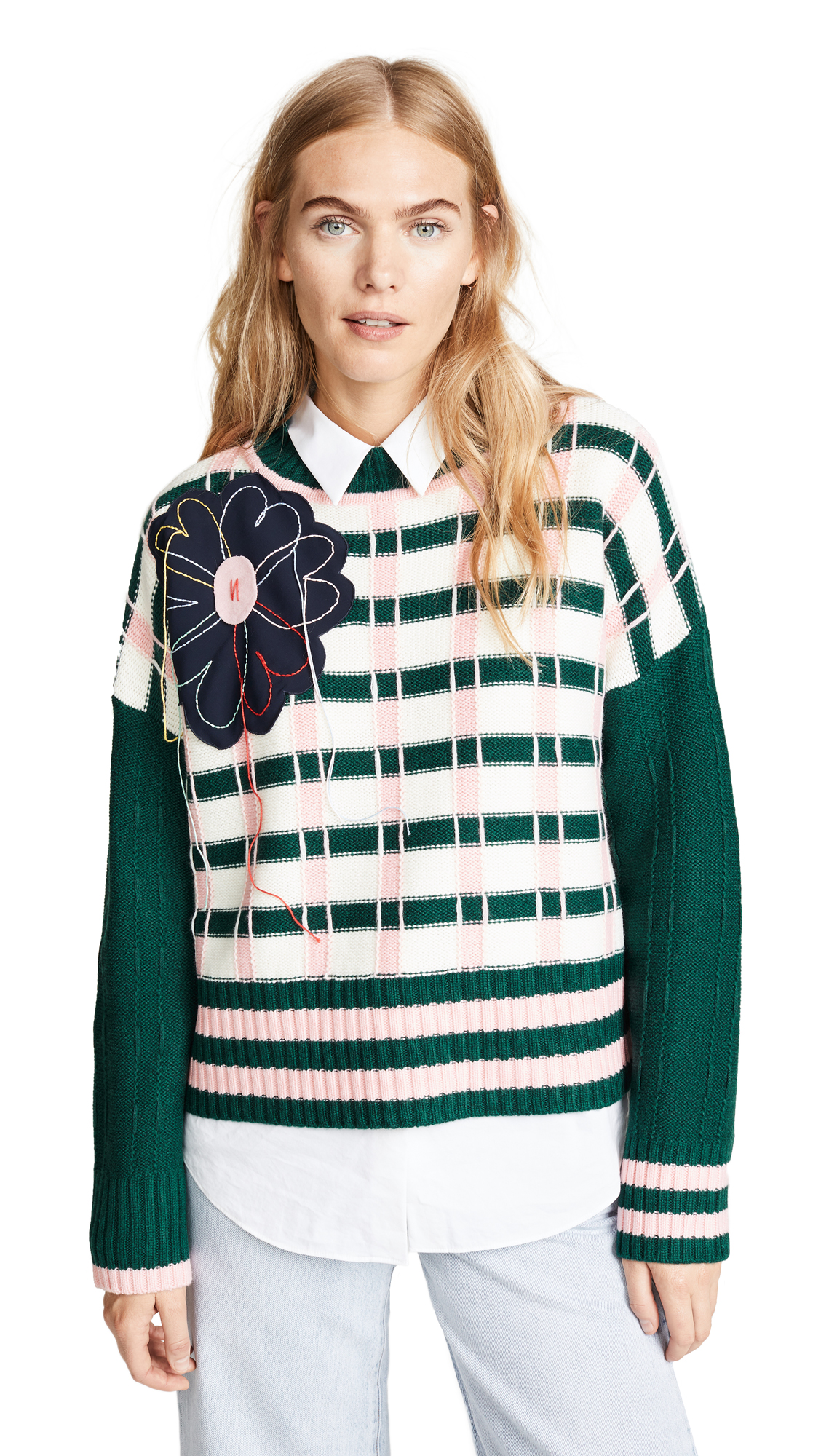 Appliqué Check Knitted Sweater in Green/Pink