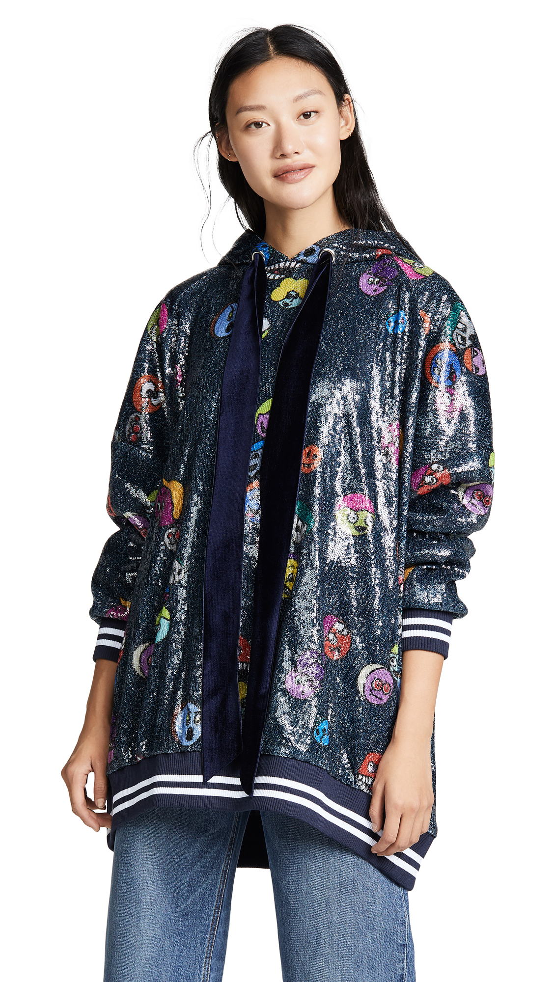 MIRA MIKATI Printed Sequin Hoodie in Blue