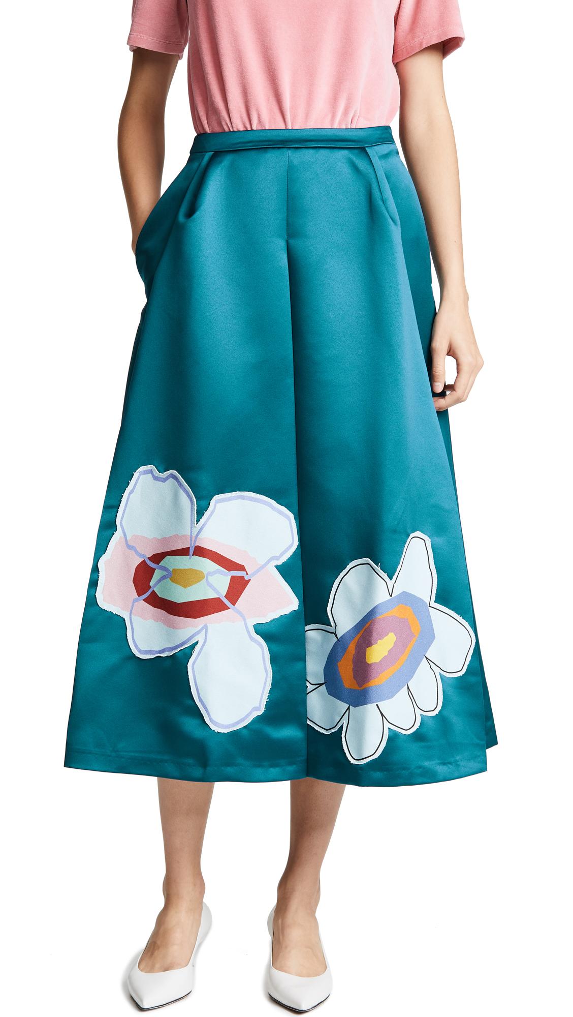 Mira Mikati Midi skirts Satin Flower Midi Skirt