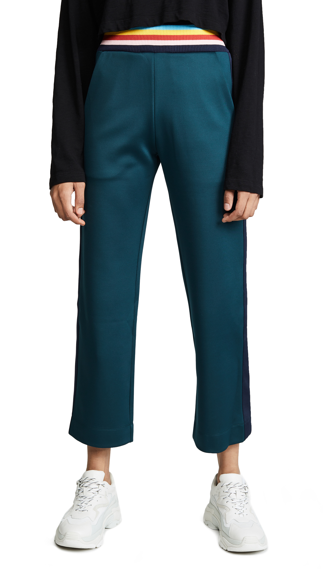 Stretch-Scuba Jersey Track Pants in Petrol