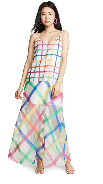Mira Mikati Rainbow Check Cami Dress