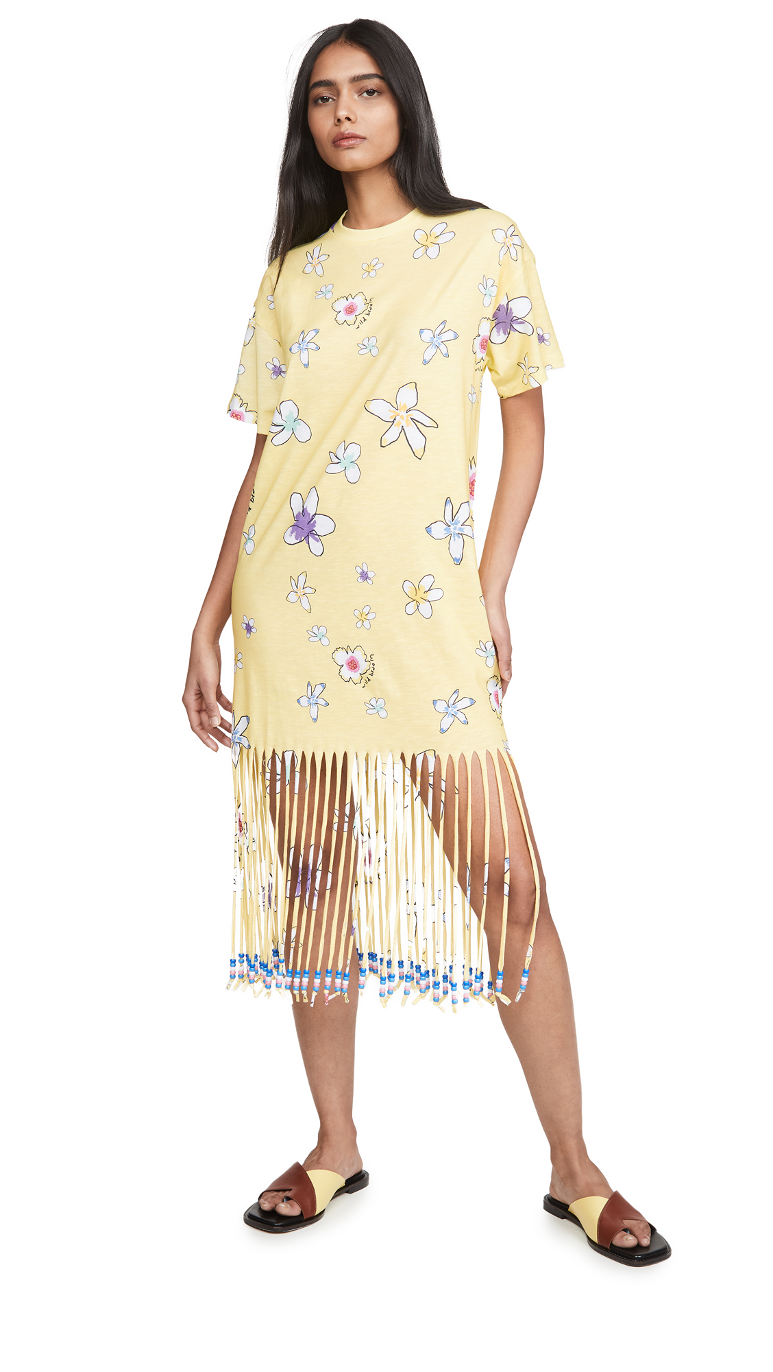 Mira Mikati Floral Print Fringe Beaded T-Shirt Dress - 40% Off Sale