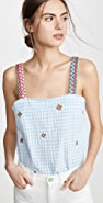 Mira Mikati Embroidered Strap Gingham Top
