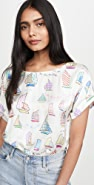 Mira Mikati Sailboat Print Short Sleeve Top