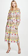 Mira Mikati Ribbon Print Open Neck Shirt Dress