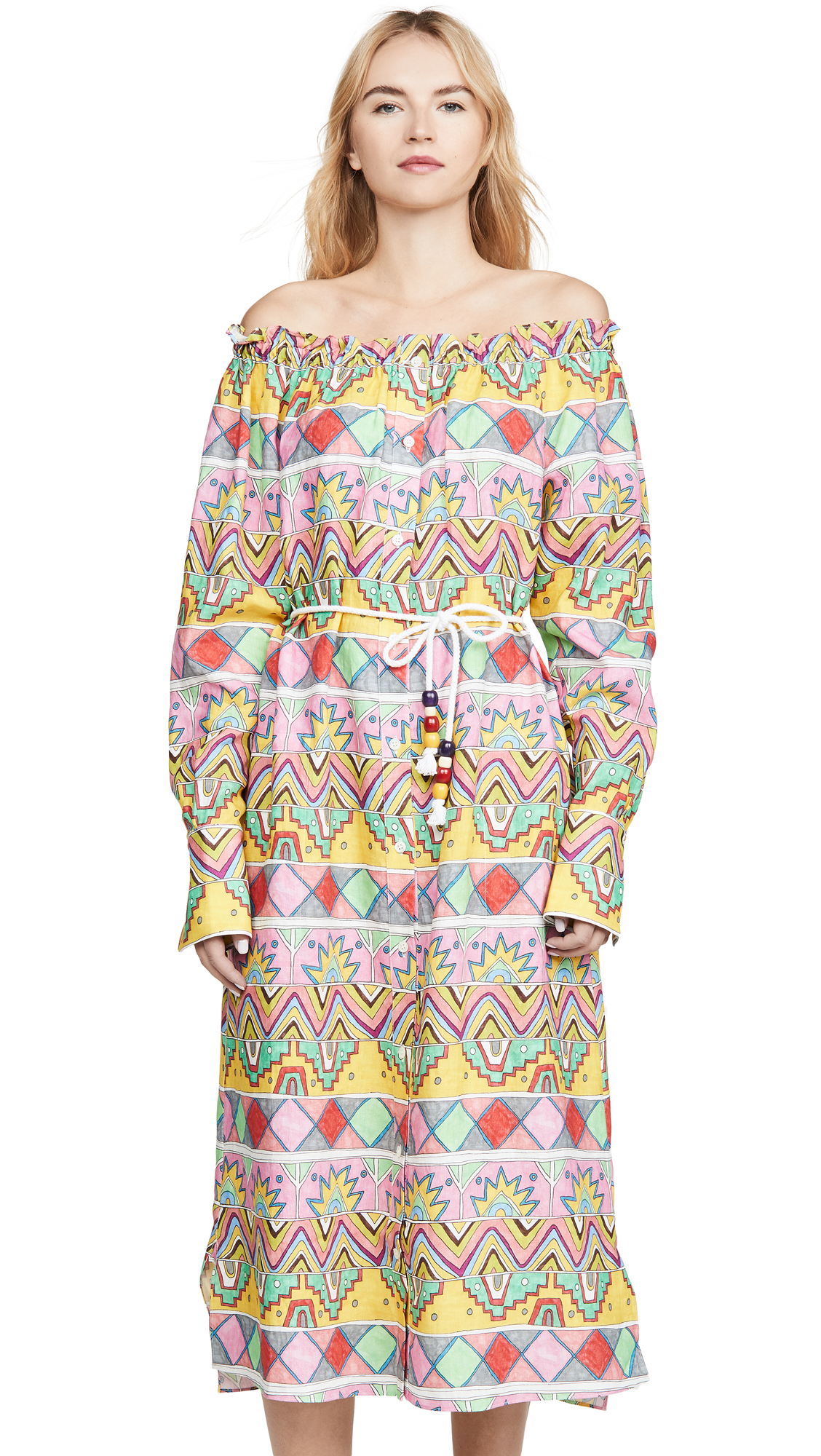 Buy Mira Mikati online - photo of Mira Mikati Ribbon Print Open Neck Shirt Dress