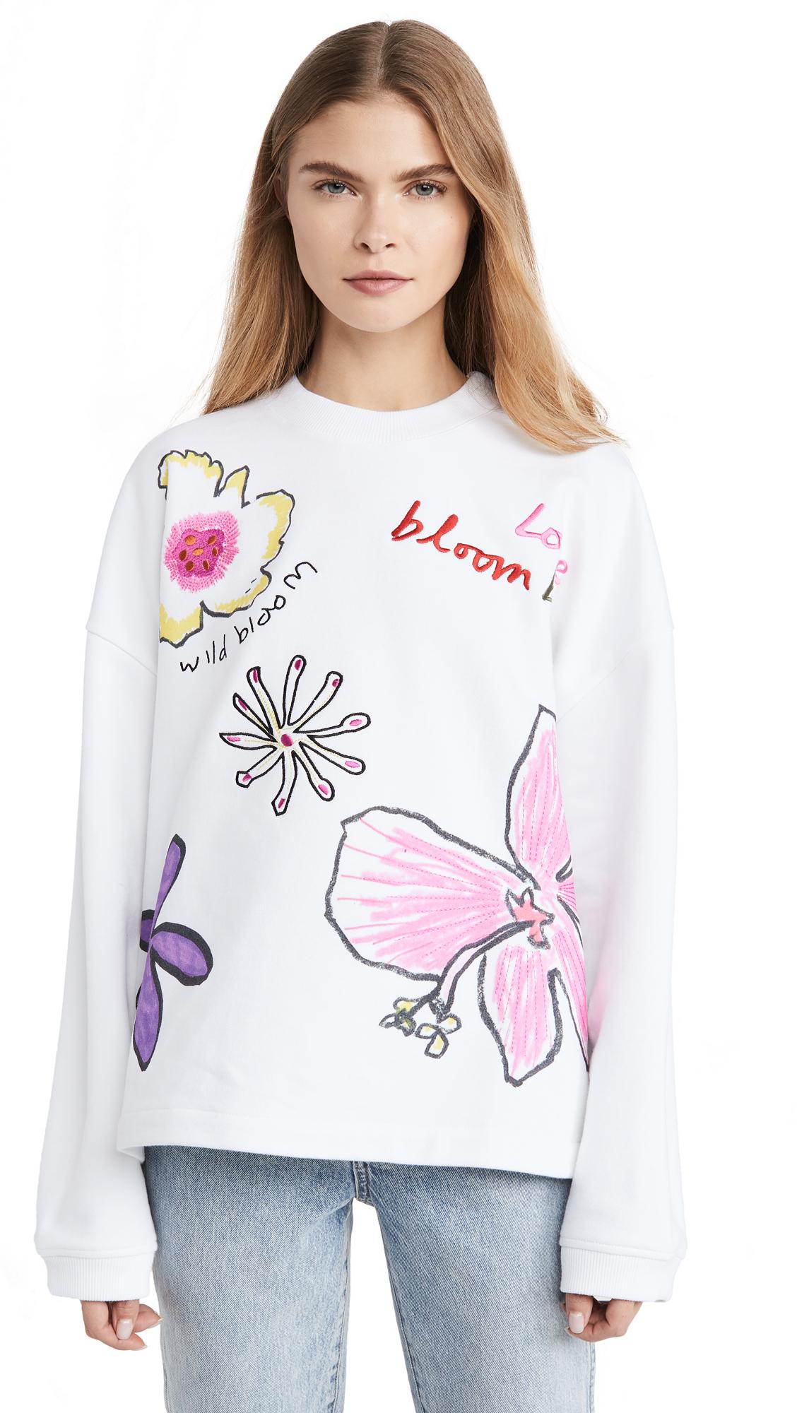 Buy Mira Mikati online - photo of Mira Mikati Floral Print & Embossed Sweatshirt