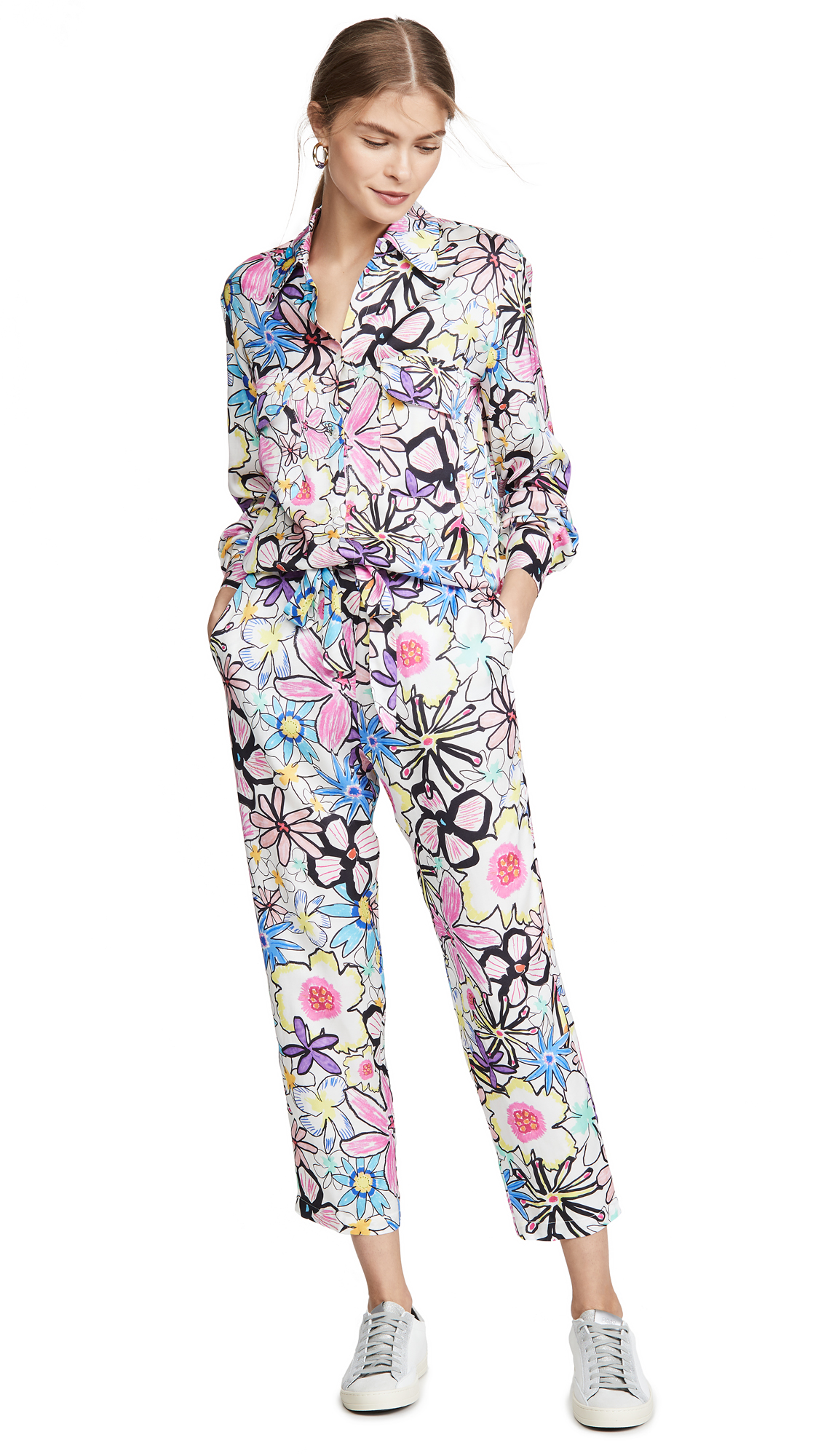 Buy Mira Mikati online - photo of Mira Mikati Bold Line Flower Print Jumpsuit