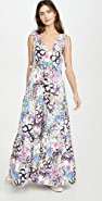 Mira Mikati Bold Lines Flower Print Tiered V Neck Dress
