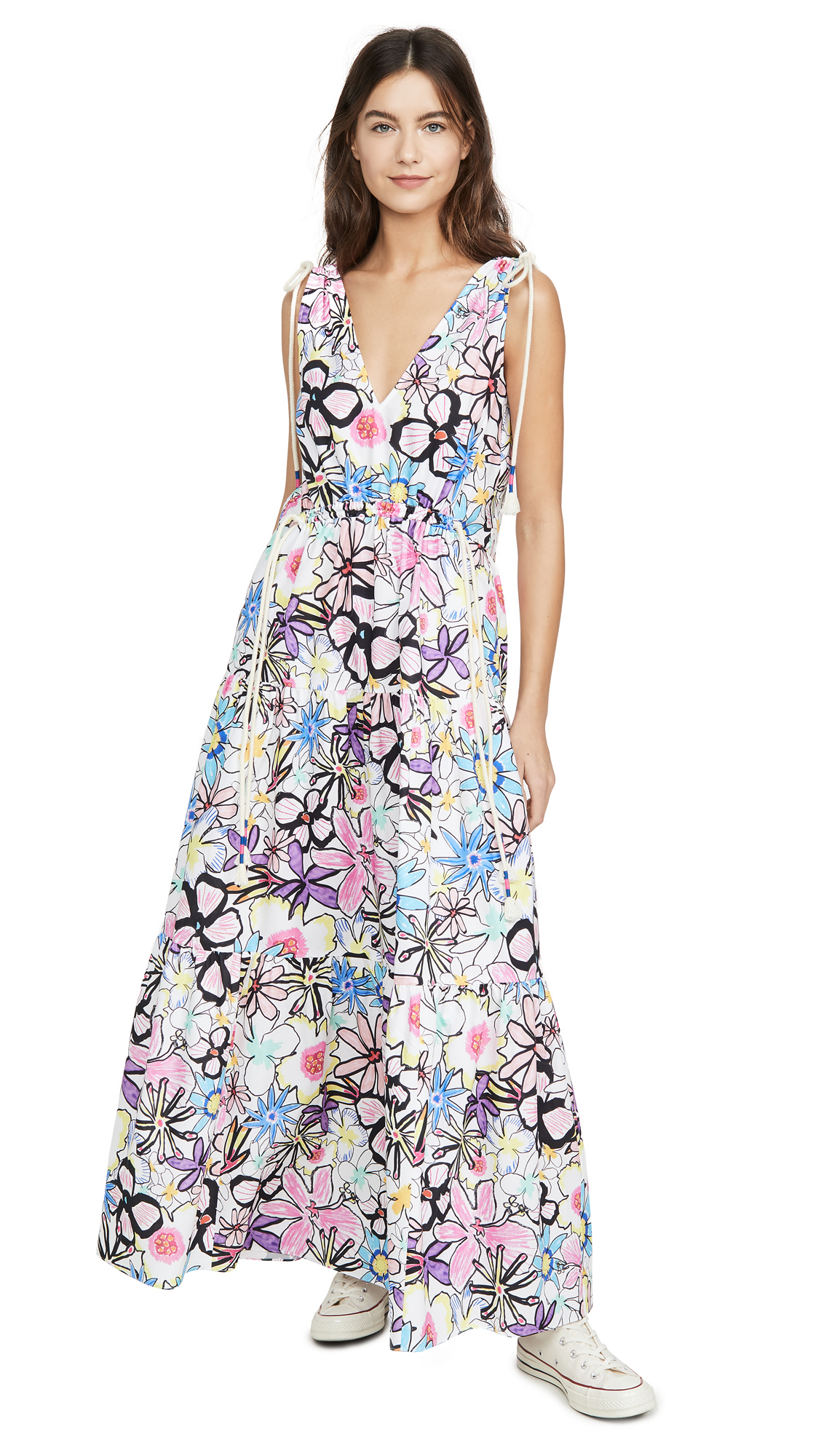 Mira Mikati Bold Lines Flower Print Tiered V Neck Dress - 50% Off Sale