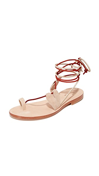 Cornetti Scilla Wrap Sandals - Beige/Red