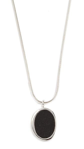 Contempoh Serpentine Stone Necklace In Silver
