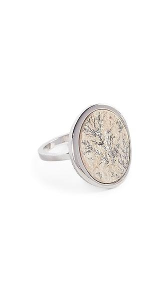 Contempoh Dendrite Stone Ring In Silver