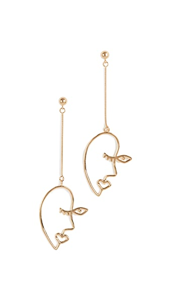 Contempoh Profile Linear Drop Earrings In Yellow Gold