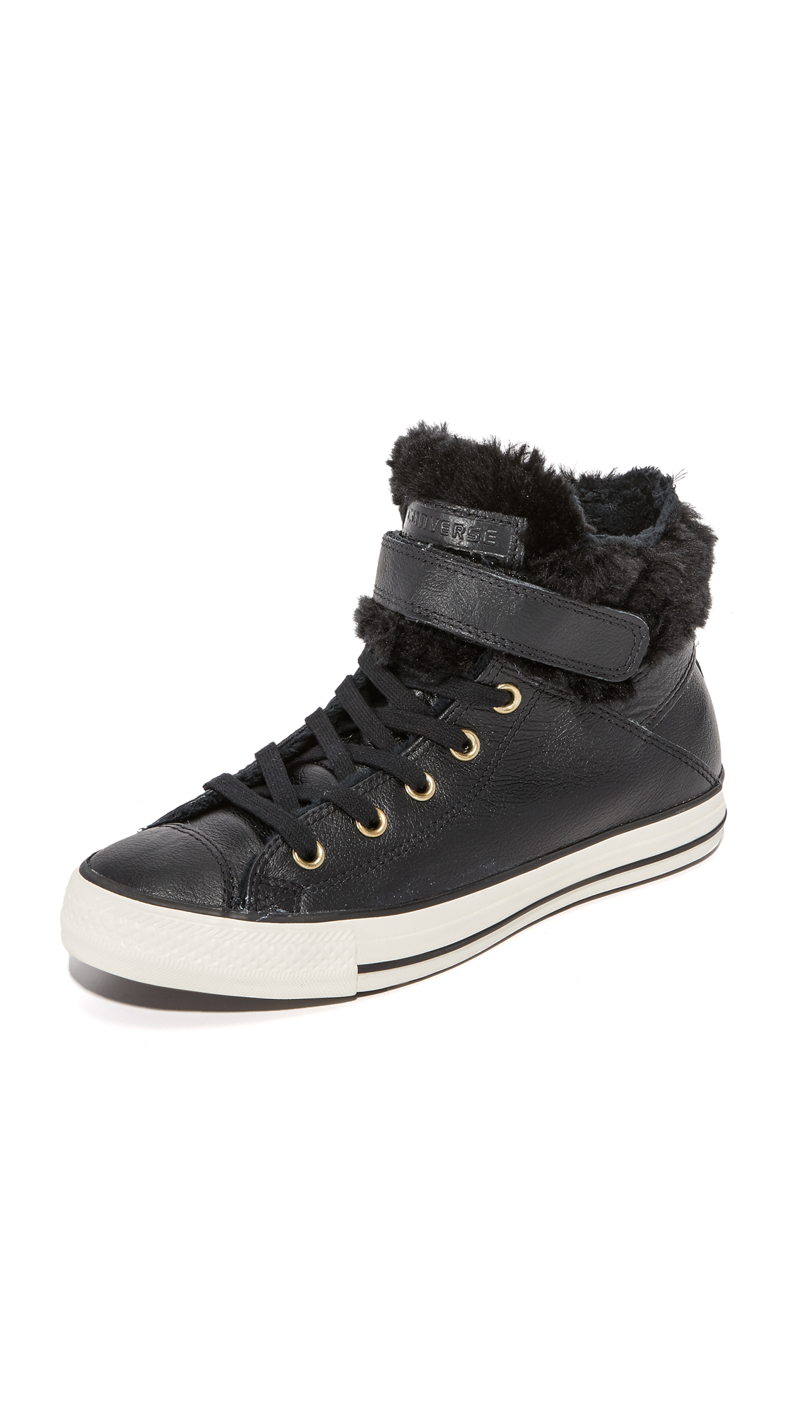 converse chuck taylor all star brea leather/fur hi