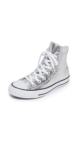 Converse Chuck Taylor All Star Metallic High Top Sneakers - Silver/Black/White