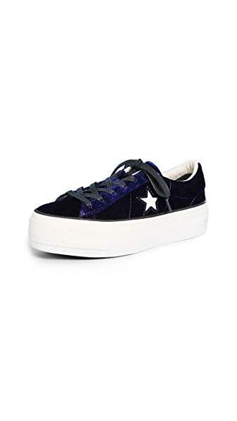 Converse One Star Platform Ox Sneakers In Eclipse Blue/Egret/Black