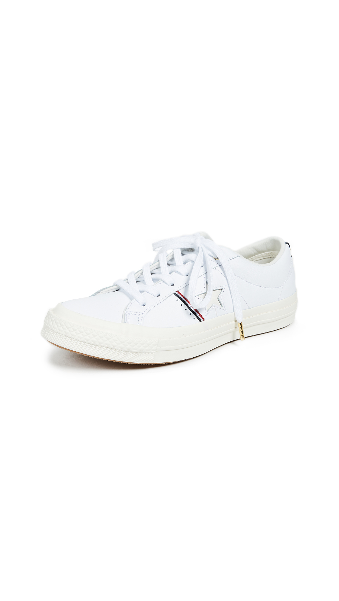 Converse One Star OX Sneakers - White/Red/Egret