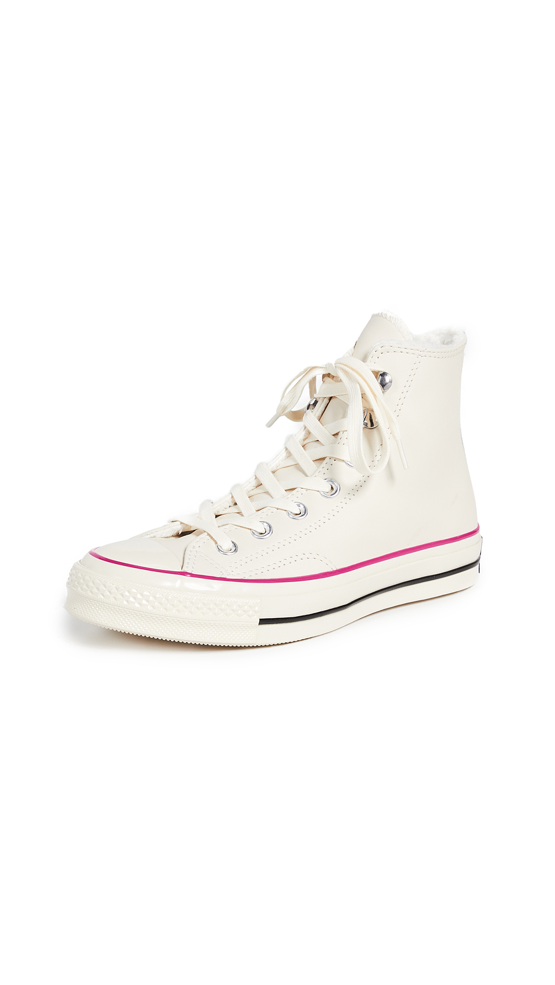 Converse Chuck 70 Leather Hi Top Sneakers - Natural/Ivory